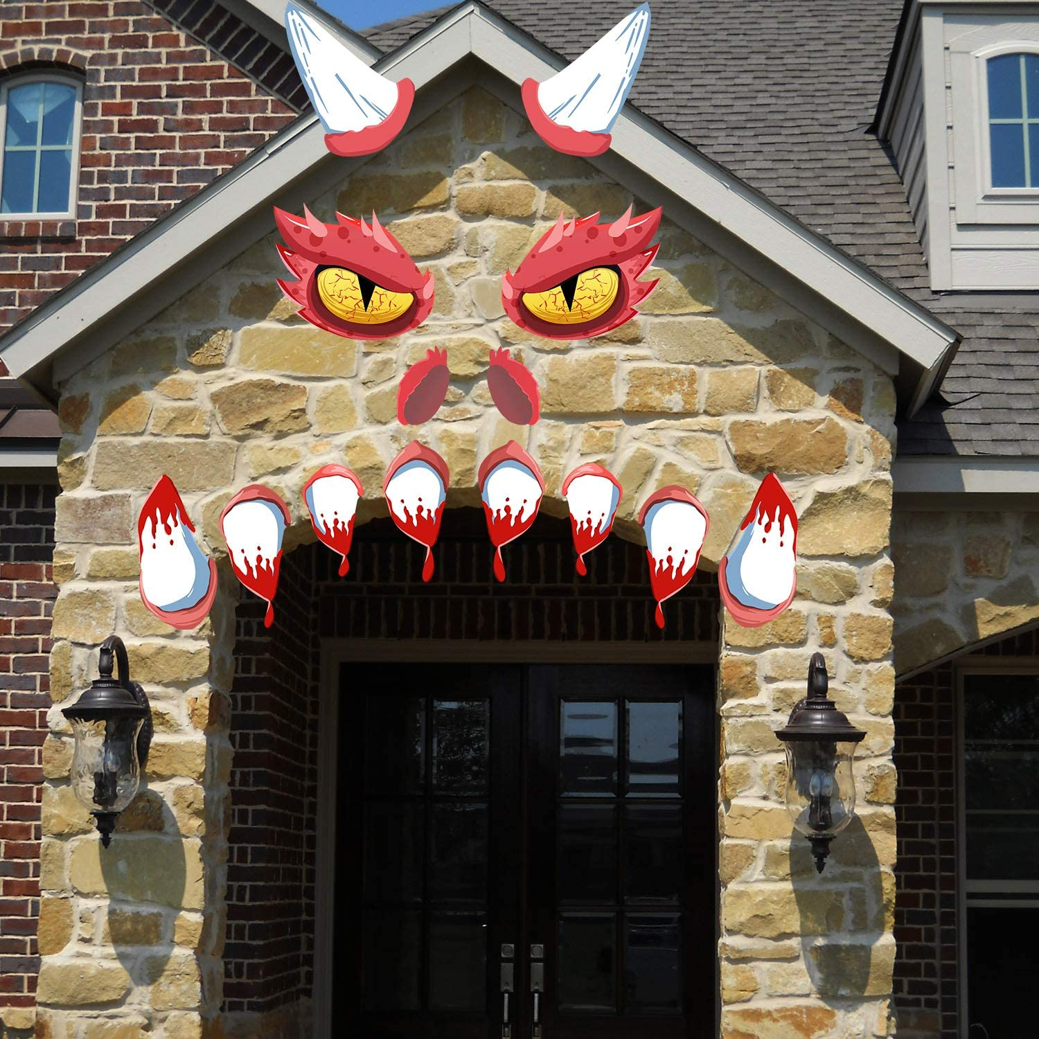 PartyShow Halloween Decorations Garage Door Archway Car Monster Face with Eyes Nostrils & Teeth Included Double Sided Adhesive Tapes