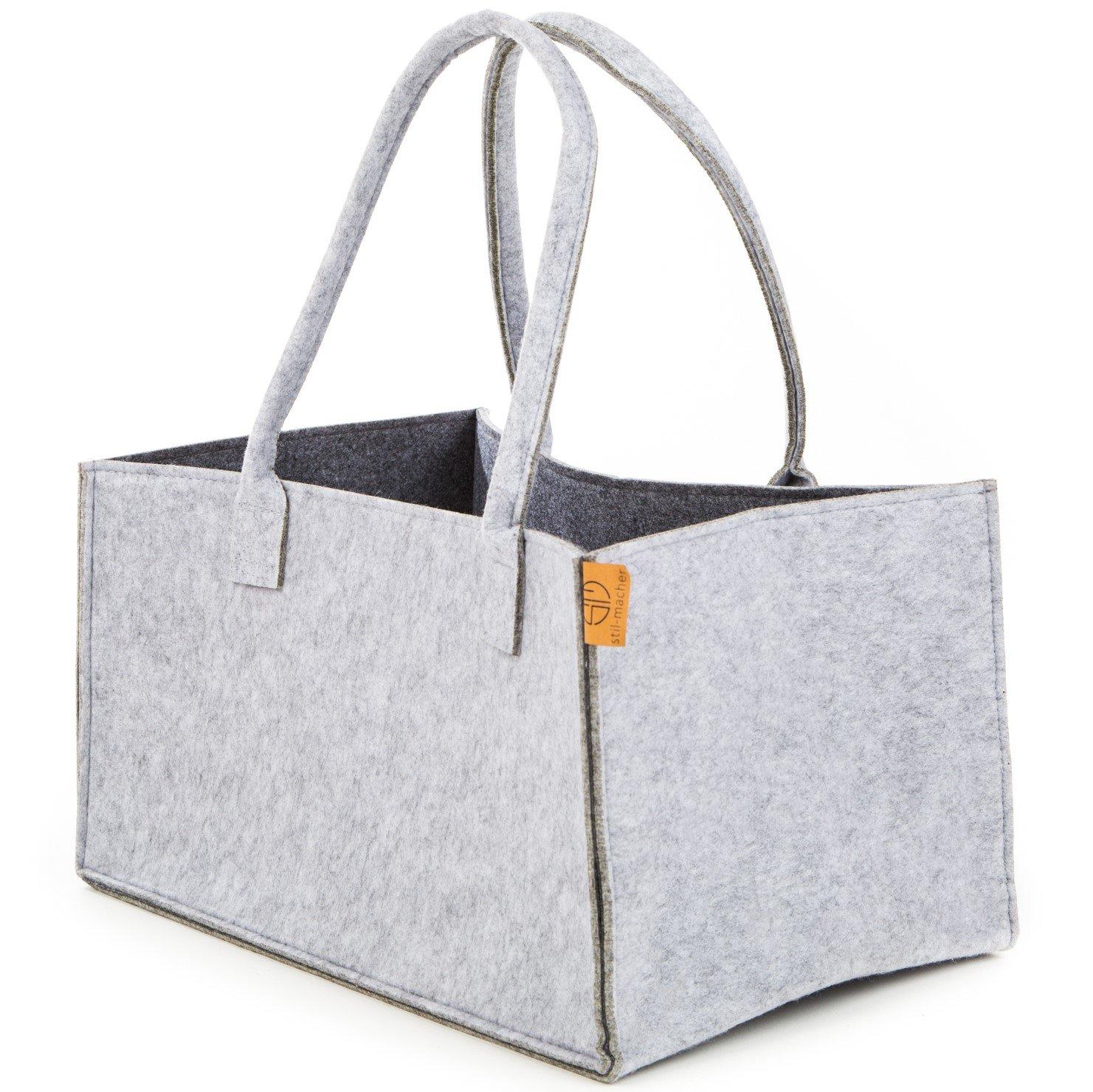 Premium Filztasche von Stil-Macher | Grau GrassGreen | Design Einkaufstasche, Shopper, robuste Filztasche, Kaminholztasche, Einkaufskorb aus hochwertigem Filz | 44x35x30 cm
