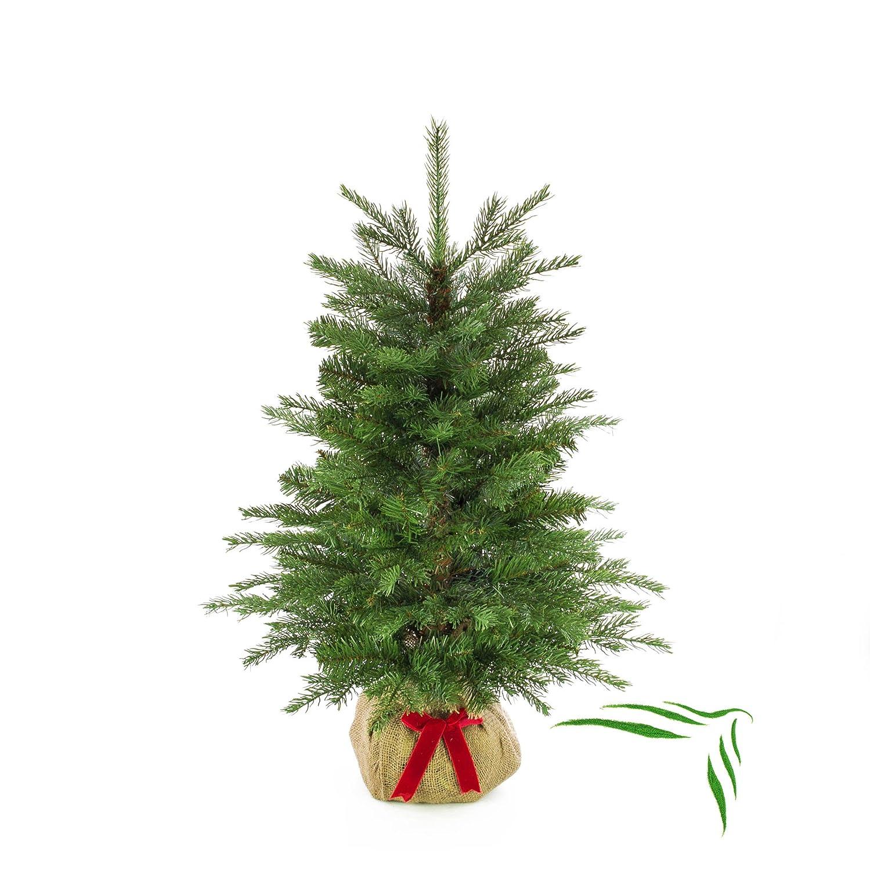 Künstlicher Tannenbaum Wellington im braunen Jutesack, 365 Zweige, 90 cm, Ø 65 cm - Kunst Weihnachtsbaum Deko Christbaum - artplants