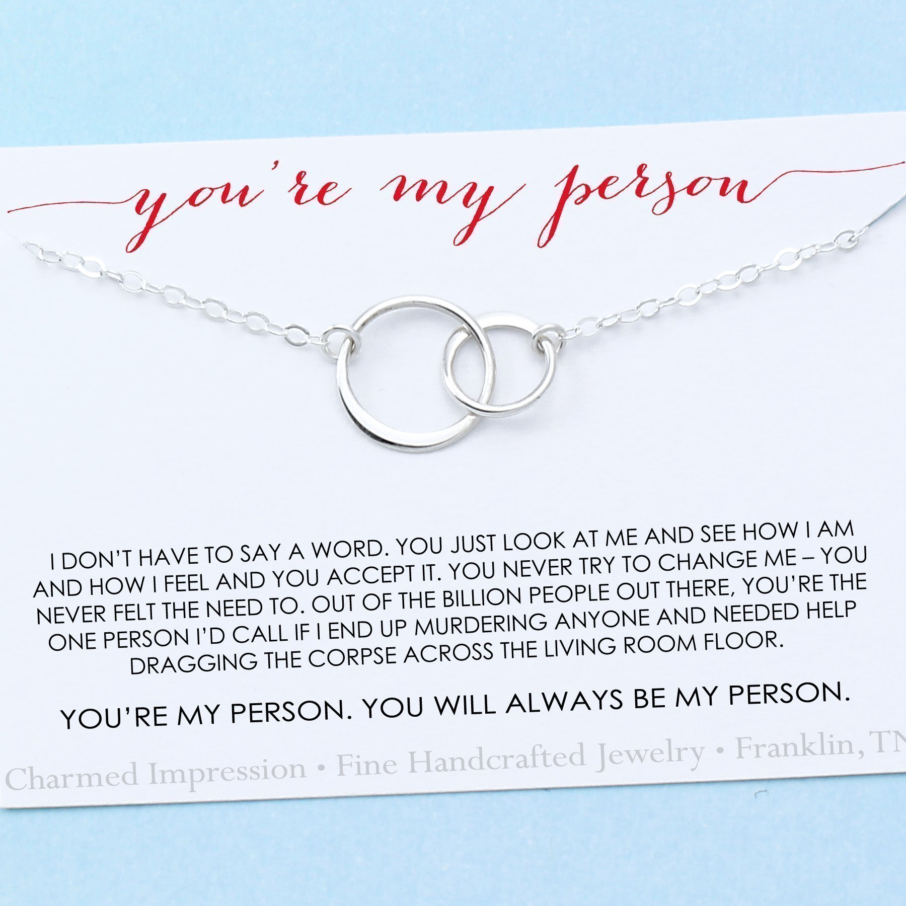 You are My Person Best Friend Gift Two Connected Circles Necklace Sterling Silver BFF Besties