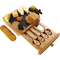 Utopia Kitchen Cheese Board and Knife Set - Set Includes Cheese Slate, 4 Stainless Steel Cheese Knives, Removable Slide…