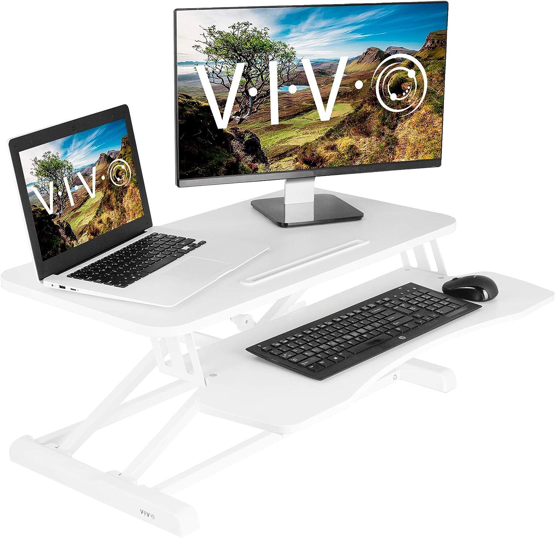 VIVO White Height Adjustable 32 inch Standing Desk Converter   Sit Stand Tabletop Dual Monitor and Laptop Riser Workstation (DESK-V000KW)