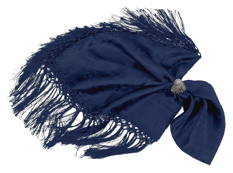 Moschen-Bayern Damen Trachtentuch Dirndltuch Seidentuch Fransen Blau 20550625