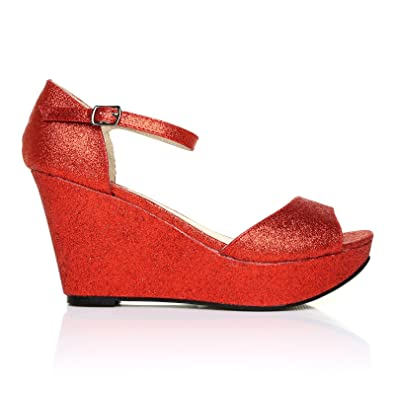 281269d2ddd3 LACIE Red Glitter Wedge High Heel Platform Peep Toes: Amazon.co.uk: Shoes &  Bags