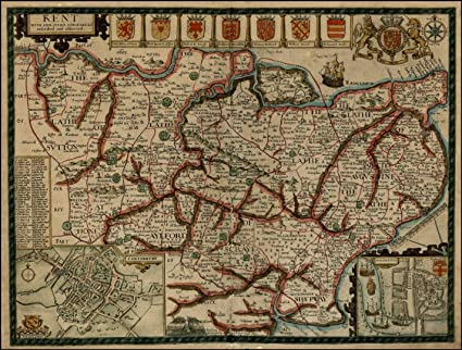 Reproduction 17th Century Antique County Map of Kent, by John Sd on map of delaware technical community college, map of sparta township, map of plainfield township, map of rock hall, map of upper peninsula of michigan, map of cannon township, map of delmar, map of hamtramck, map of wesley college, map of city of grand rapids,