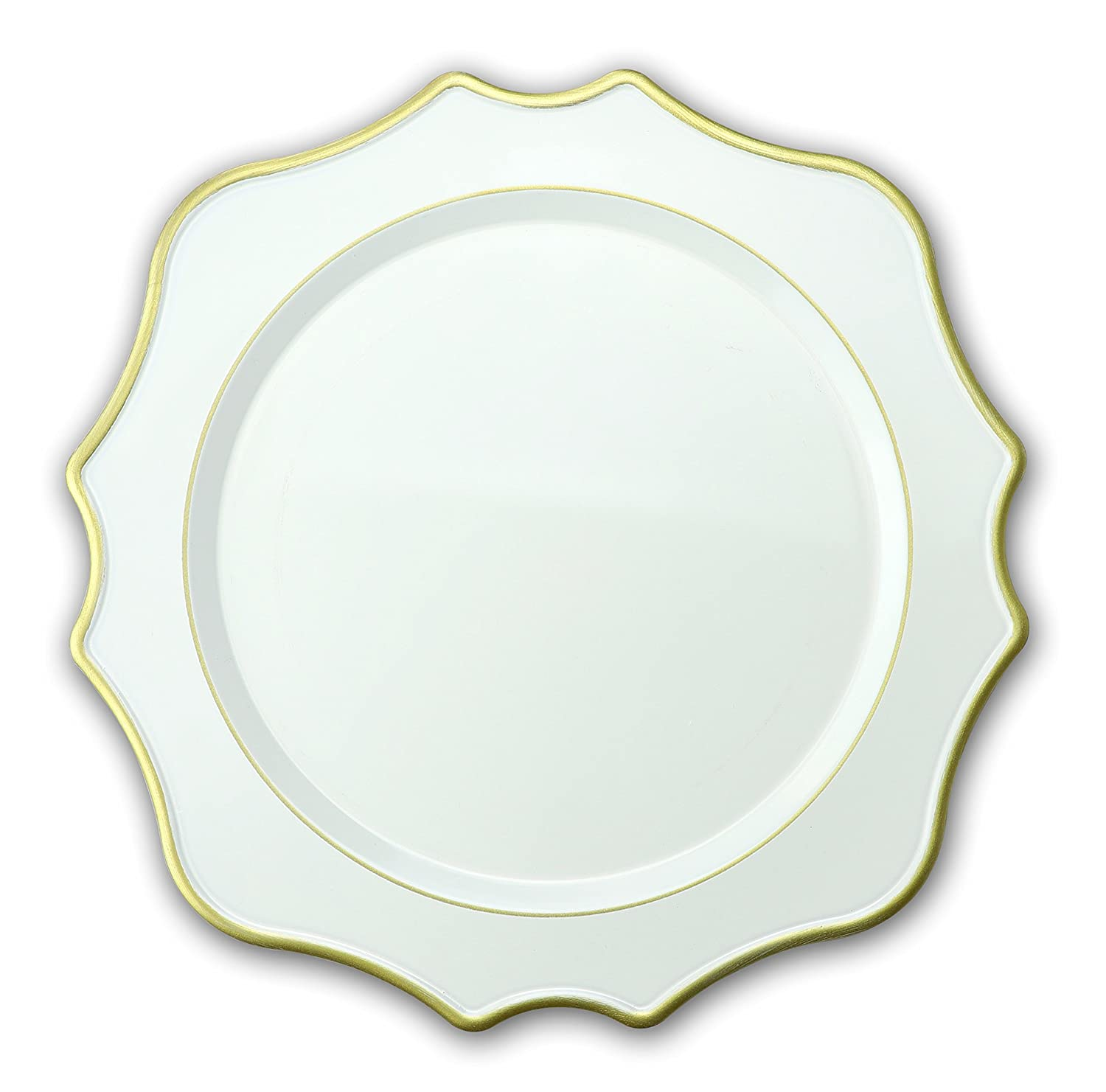 """"""" OCCASIONS"""" 10 Pcs. 13'' Wedding Charger Plates (Scalloped Antique White)"""