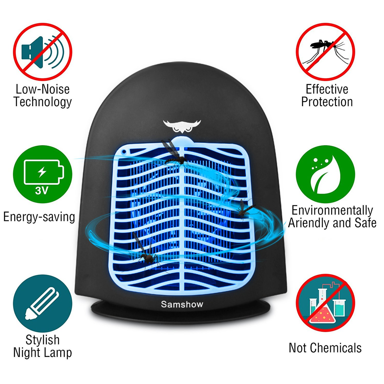 Samshow Bug Zapper&Electric indoor Mosquito Killer - Big Insect Killer - Fly Zapper Catcher - Indoor Insect Trap Lamp - Eliminates Most Flying Pests (Black)