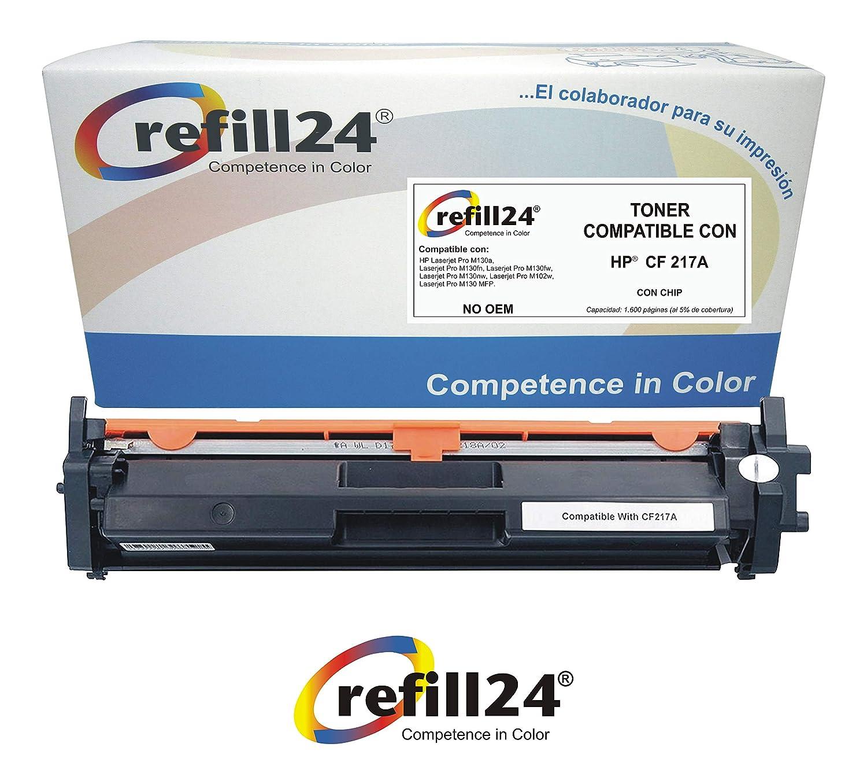 refill24 1x 17A CF217A (con Chip) Cartucho De Tóner Negro ...