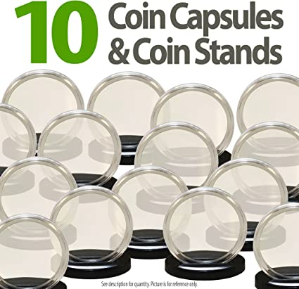 10 AIRTITE COIN HOLDER CAPSULE BLACK RING 18 MM DIME 10 CENTS