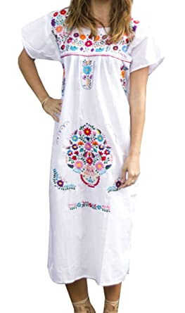 Liliana Cruz Embroidered White Mexican Peasant Hippie Dress (Small)