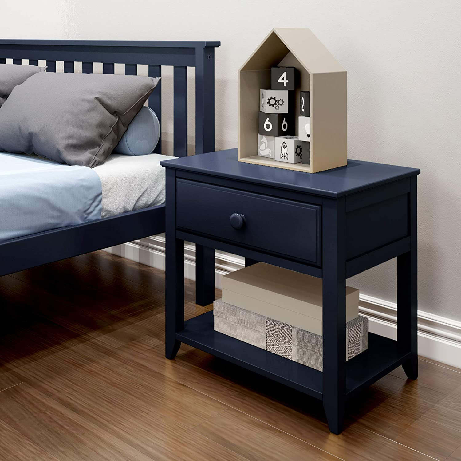 Max & Lily Nightstand with Drawer and Shelf, Blue