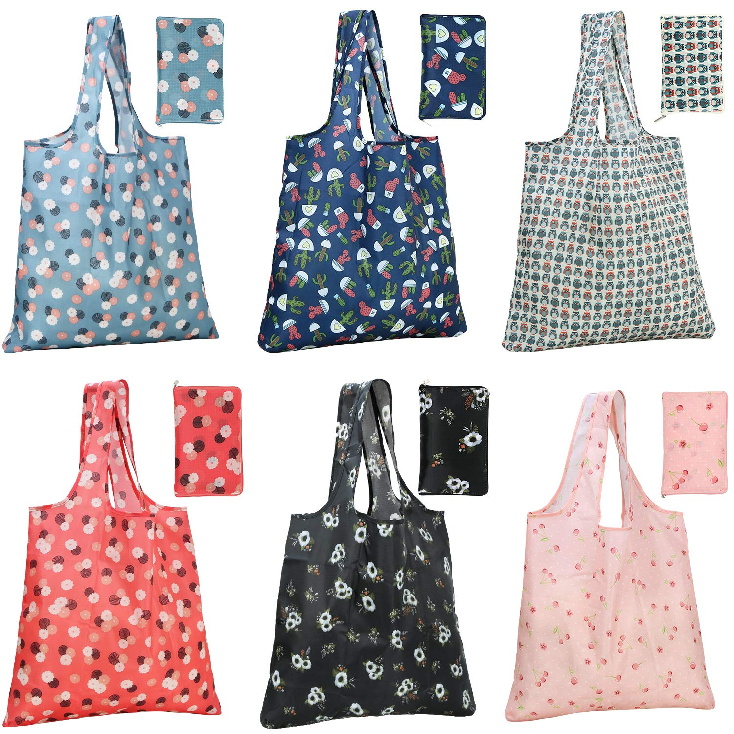WiseLife Grocery Bags Reusable Foldable Shopping Bags with Pouch Ripstop Waterproof Large Groceries Bags for Shopping Tote Bags 6 Packs Mixed with Cute Patterns Machine Washable