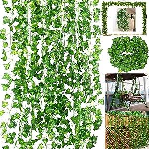 84 Ft-12 Pack Artificial Ivy Leaf Garland Plants Vine Hanging Wedding Garland Fake Foliage Flowers Home Kitchen Garden Office Wedding Wall Décor