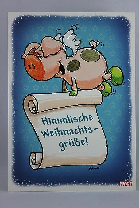 Himmlische Weihnachtsgrüße.Nici 60142 Postkarte Weihnachten Schwein Himmlische