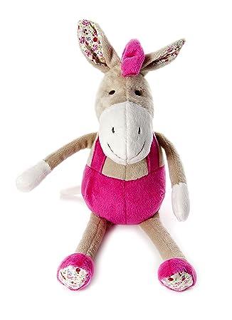 Pequeño burro de peluche con crin y peto rosas para niñas