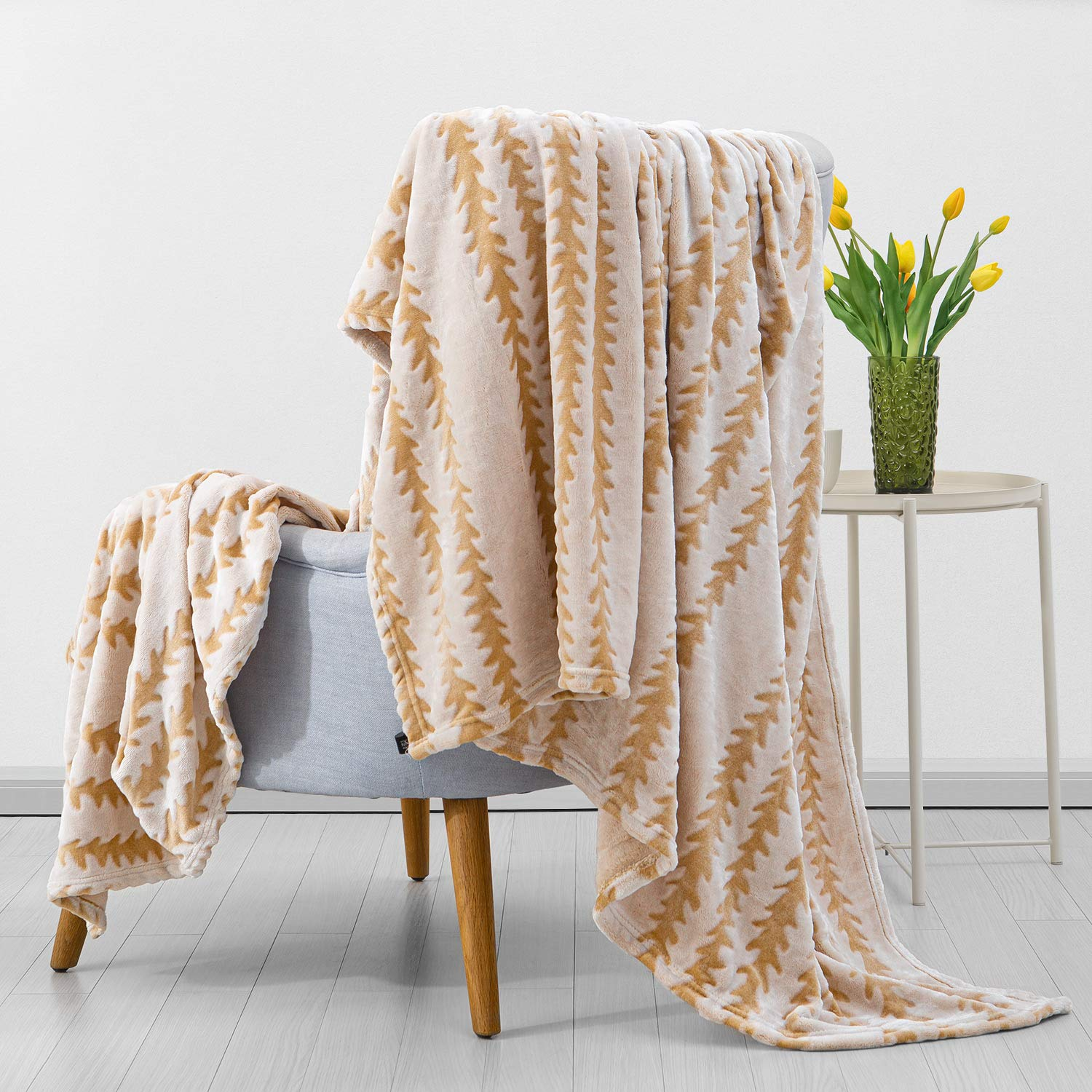 """$13.45 SEDONA HOUSE Covered Flannel Blanket, Light Brown Striped, Full Size 60""""x80"""""""