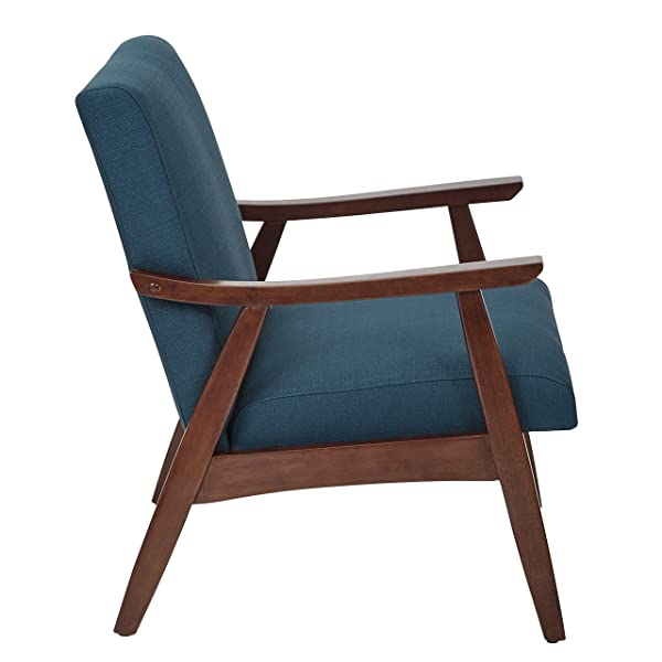 ModHaus Living Mid Century Modern Wood Fabric Upholstered Accent Arm Chair with Espresso Solid Wood Frame - Includes Pen (Dark Teal)