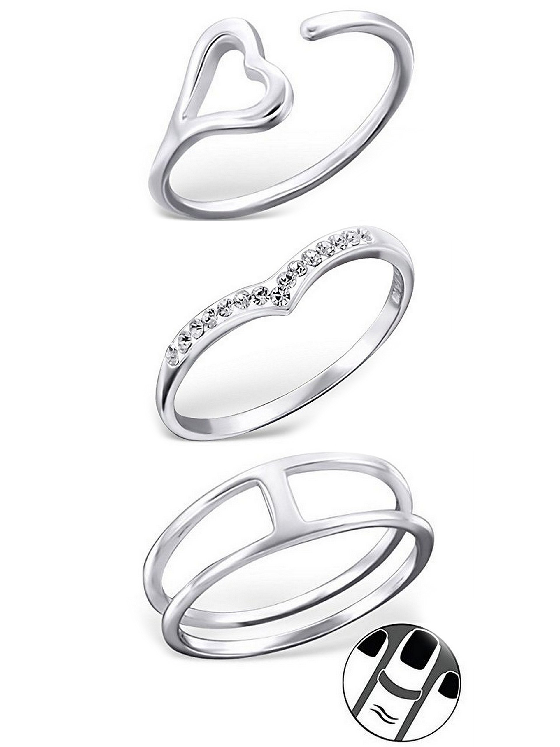 925 Sterling Silver set of 3 Heart, Pointed Crystal, Double Open Above Knuckle Ring Mid Finger Top