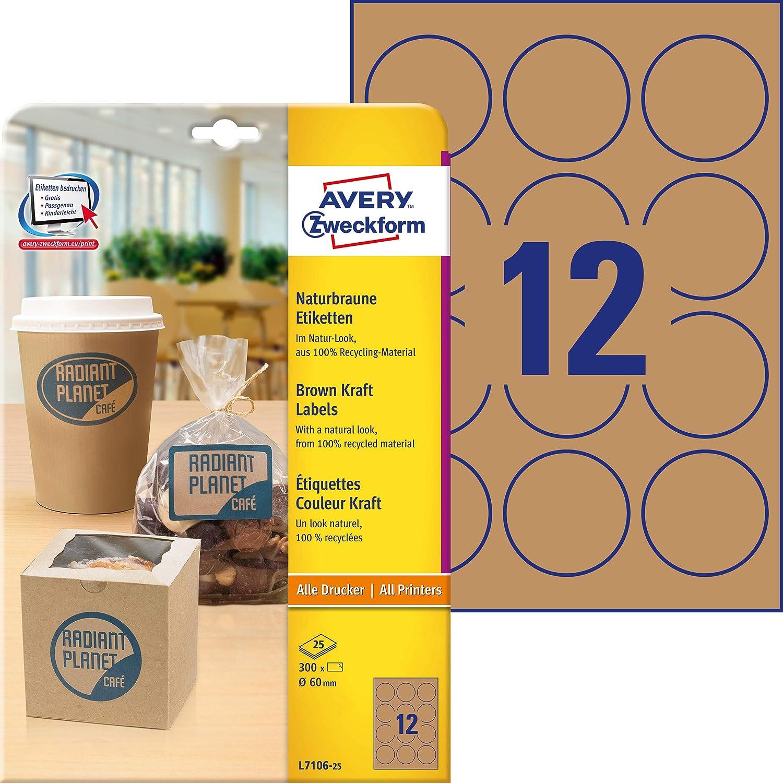 300 unidades Etiquetas multiuso Avery-Zweckform Purpose Form marr/ón