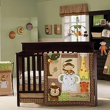 amazon com jungle walk 10 piece baby crib bedding set with bumper