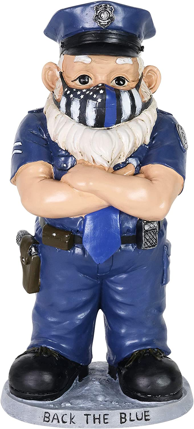 Exhart Police Officer Statue w/ Blue Police Flag Mask, Pandemic-Inspired Police Garden Statue, Cute Police Gnome Art Décor, Durable Hand Painted Resin Police Figurines for Home Décor (6.5 x 5.5 x 13)