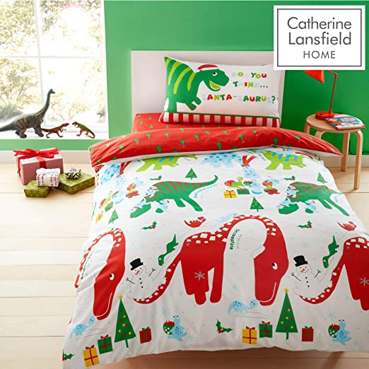 Catherine Lansfield Dino-Saw Blue Red /& Green Cotton Rich Children/'s Duvet Set
