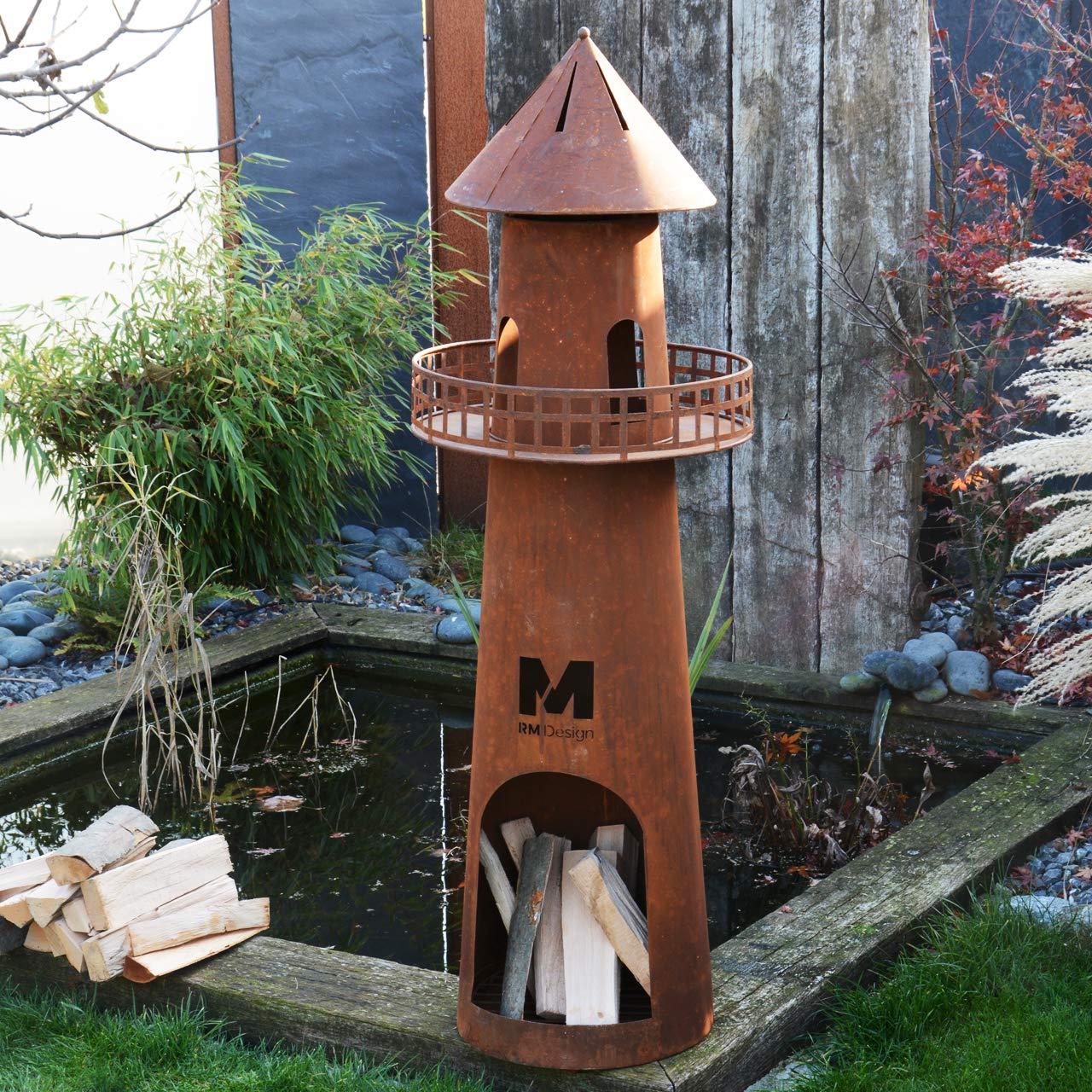 RM Diseño de Chimenea de jardín de Oxidado 131 cm de Altura/Chimenea como Hoguera o Cesta para el jardín: Amazon.es: Jardín