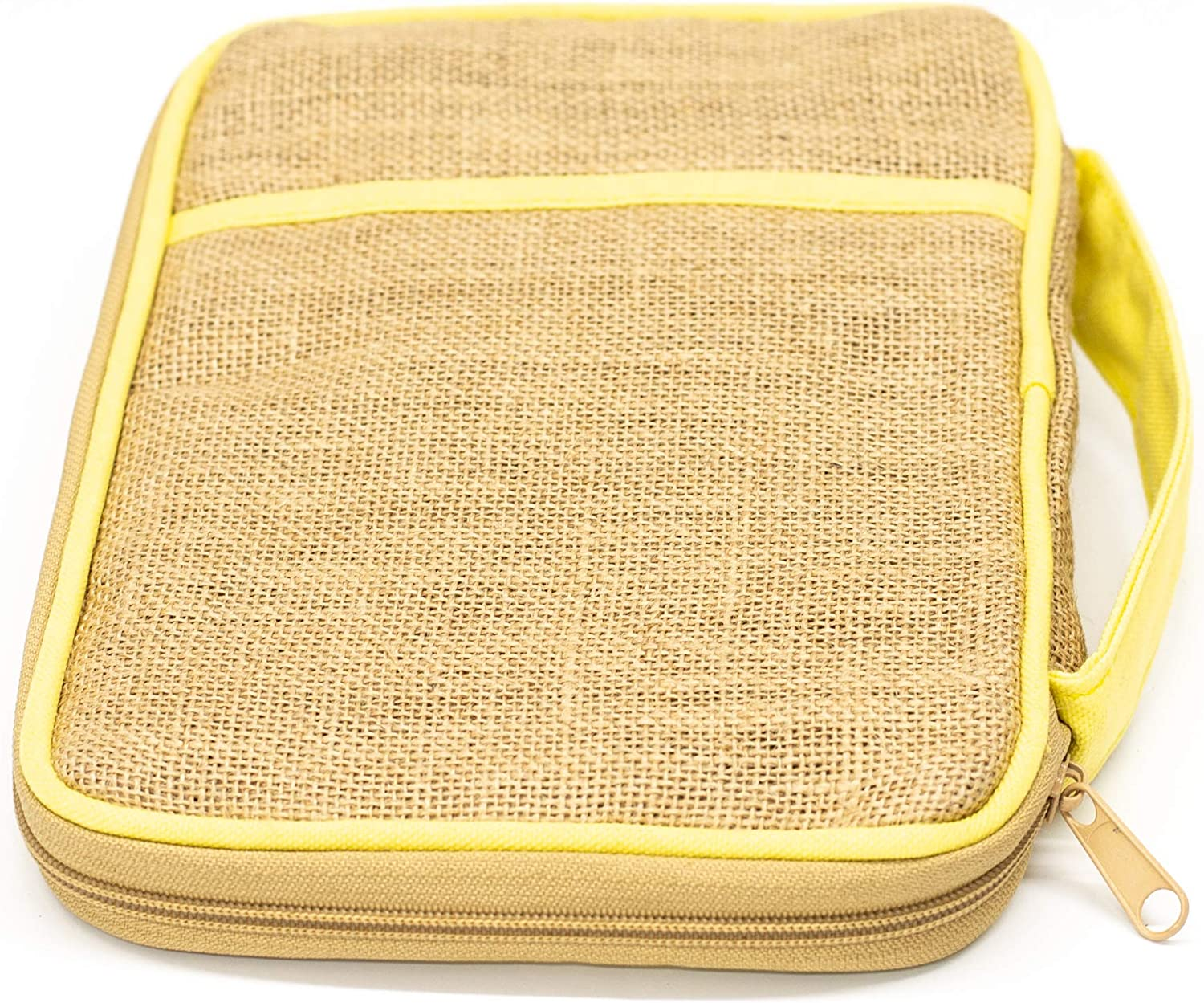 Dicksons Be Still /& Know Flower Petals Tan and Pale Yellow Zippered Cotton and Jute Woven Bible Cover Case with Handle Thinline