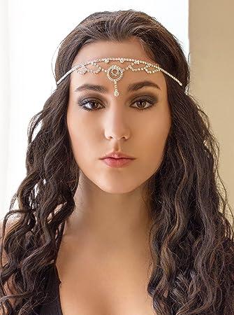 Amazon.com   Silver Rhinestone Elastic Gypsy Headband 580e09fdc13