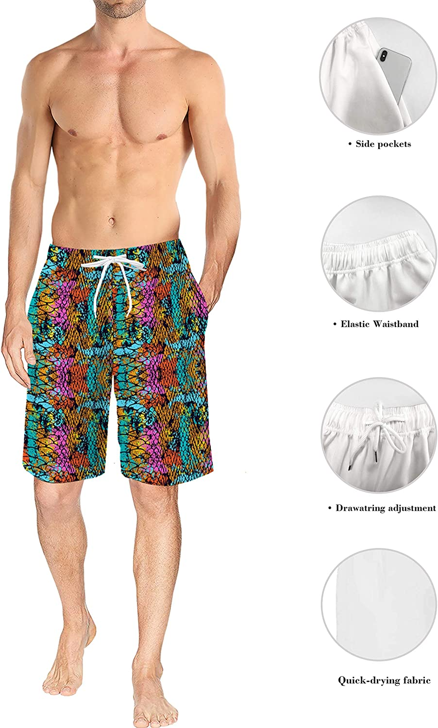 Mens Beach Shorts Dense Leopard Print Starry Sky Summer Casual Quick Dry Short Pants Stretch Swimming Trunks with Pocket