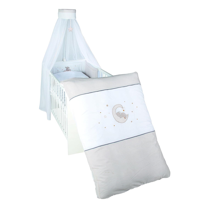 Roba Kinder-Bettgarnitur, Babybett-Ausstattung 'Happyfant', Bettwäsche 100 x 135 cm (Decke & Kissen), Nestchen, Himmel, mehrfarbig, 4-teilig