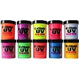 UV Neon Black Light Fluorescent Acrylic Paint 10 Assorted Super Bright Poster Wall Art Craft Colors