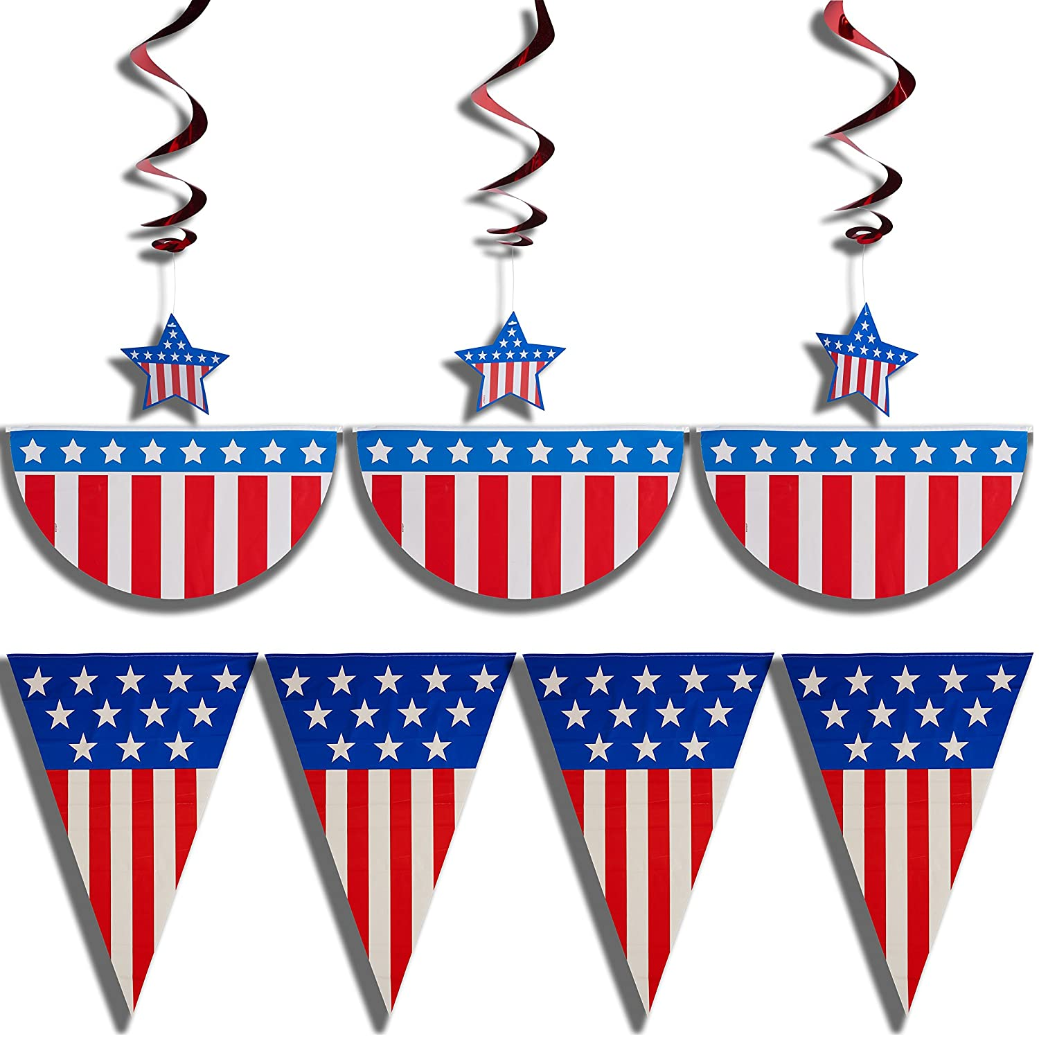 Patriotic Decorations Part - 40: Amazon.com: Prextex 4th Of July Patriotic Decorations Party Pack Bundle  With 12-Feet American Flag Bunting, 3 Stars And Stripes Hanging Swirls, ...