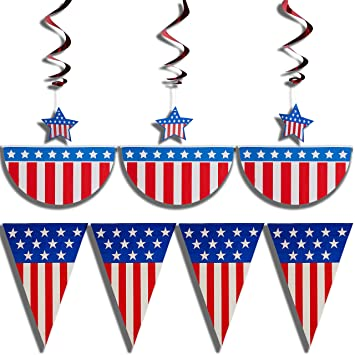 prextex 4th of july patriotic decorations party pack bundle with 12 feet american flag bunting - Patriotic Decorations