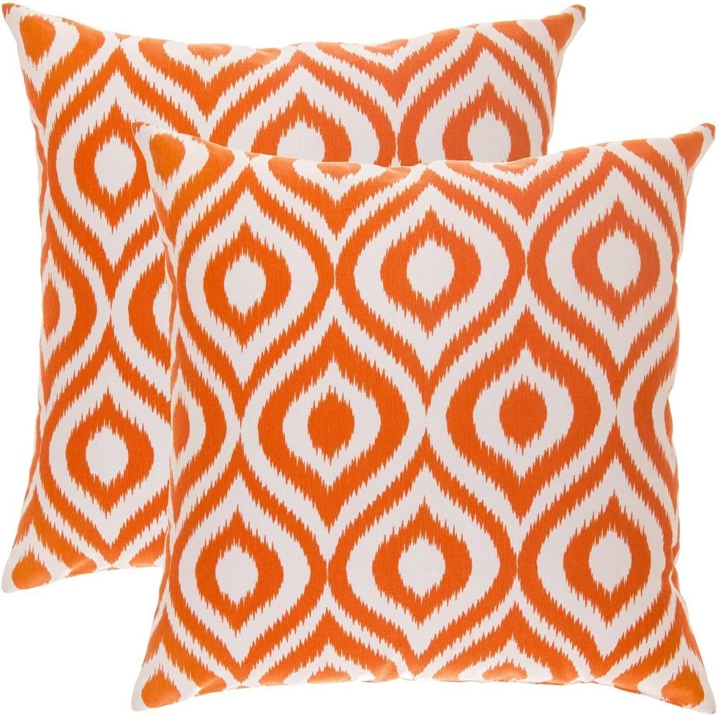TreeWool, Pack of 2, Throw Pillow Cover Ikat Ogee Accent 100% Cotton Decorative Square Cushion Cases (16 x 16 Inches / 40 x 40 cm; Orange & Off White)