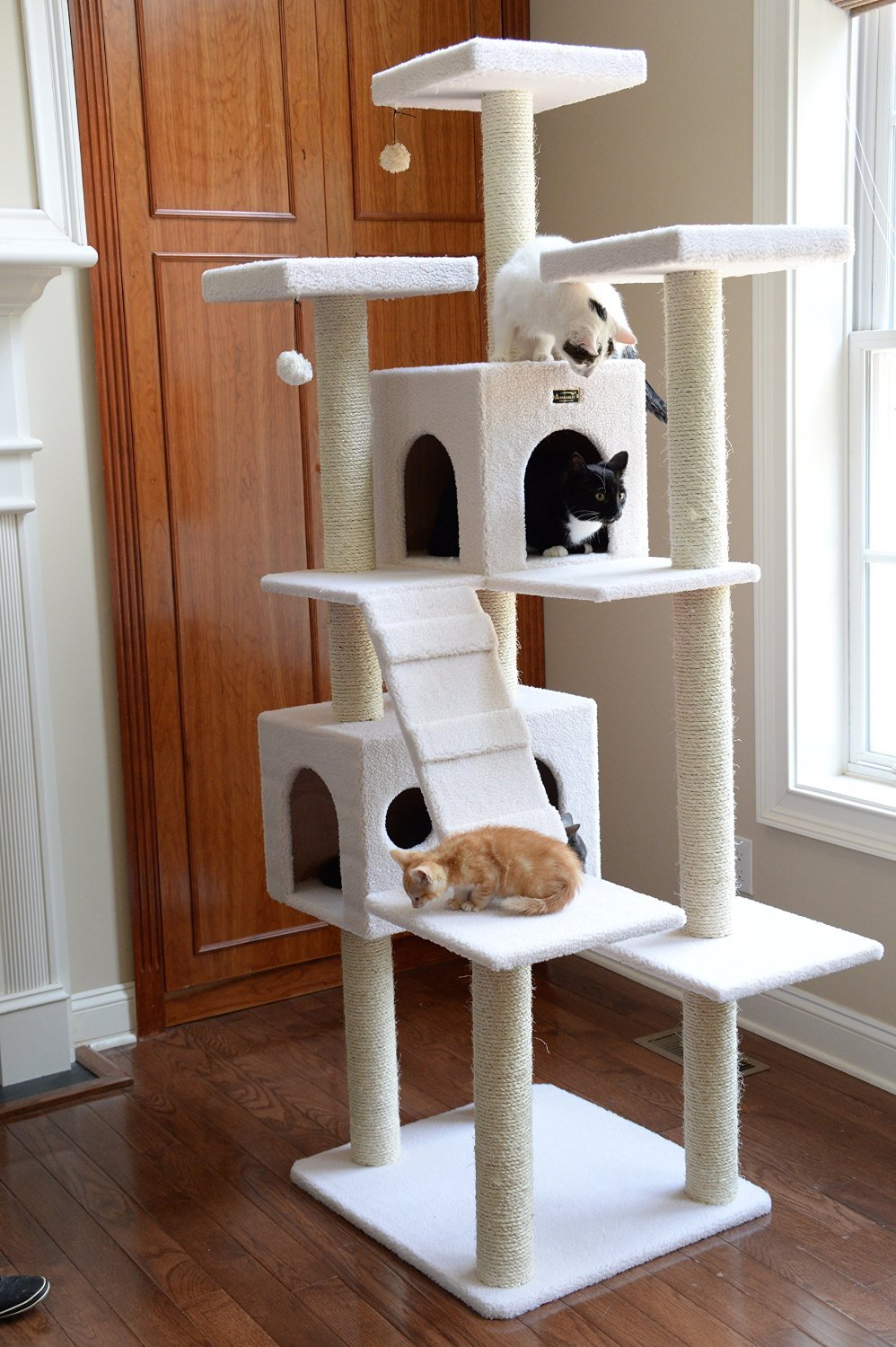 Multilevel Tall Cat Tree Furniture in Ivory Extra Large Cat Tower with Two Houses & 10 Scratching Posts