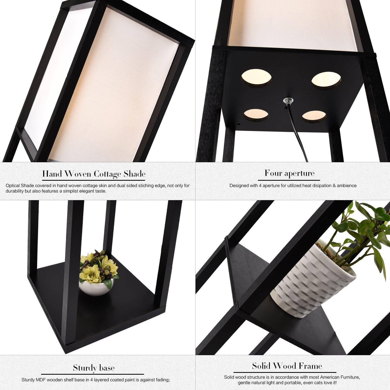 Floor Lamps For Living Room With Shelves Reading Bedroom: Modern Wood Shelf Floor Lamp Storage Living Room Bedroom