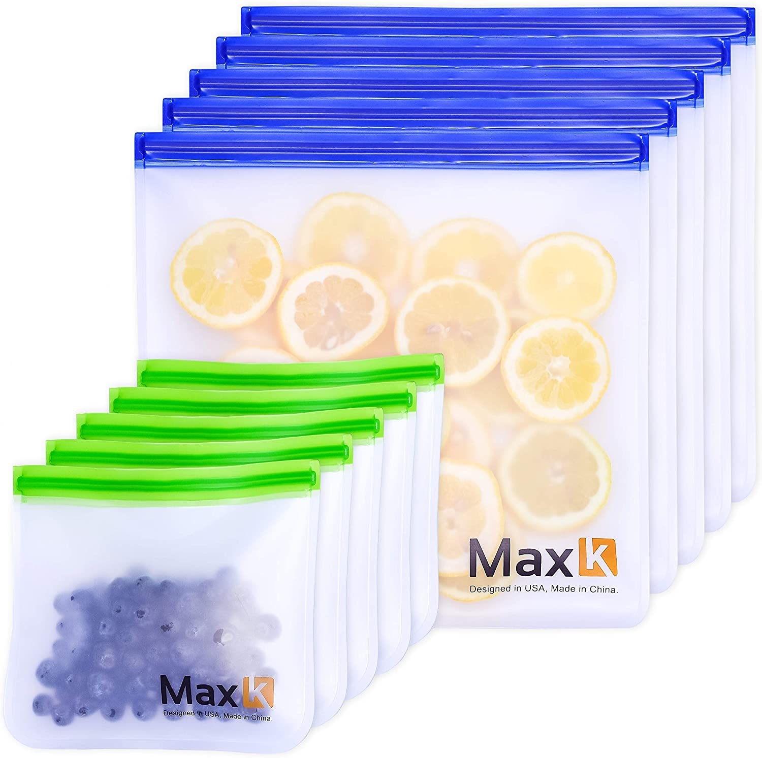 Max K Reusable Sandwich and Gallon Freezer Bags - Travel Food Containers for Fruits, Bread and Veggies - Transparent, Leak-Proof - Resealable PEVA Lunch Bag - Portable, Airtight Pouch - Pack of 10