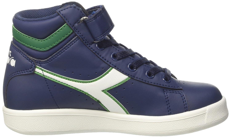 Diadora Game P High Jr, Jungen Hohe Sneaker, Elfenbein (WHT/Estate Blue/Poinsettia), 28.5 EU