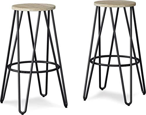 Simpli Home Simeon Industrial Metal 30 inch Metal Bar Stool with Wood Seat in Natural Black