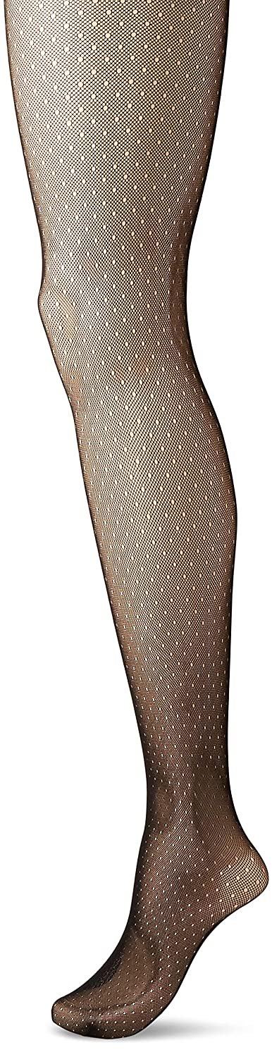 Hanes Women's Plus Size Curves Dot Net Tights, Hanes Silk Reflections HSP009