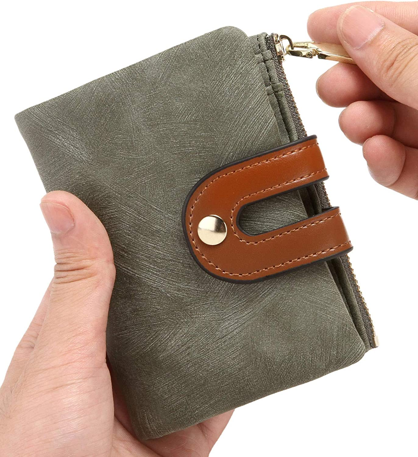 Womens Wallets Small Rfid Ladies Bifold Wallet With Zipper Coin Pocket,Mini Purse Soft Compact Thin