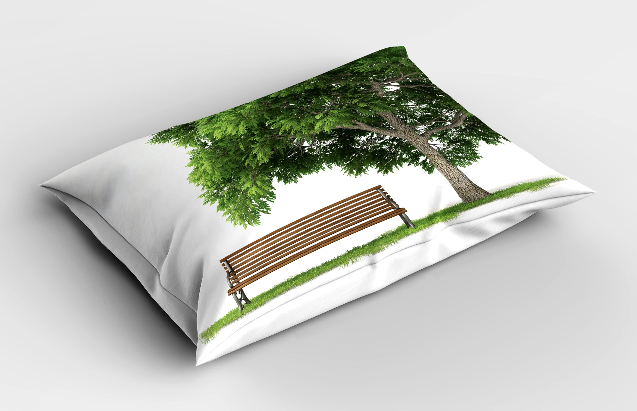 Lunarable Tree Pillow Sham, Beach Under Oak Tree Outdoor Objects Habitat Grass Foliage Wood Environment Concept, Decorative Standard Queen Size Printed Pillowcase, 30 X 20 inches, Green Brown by Lunarable (Image #2)