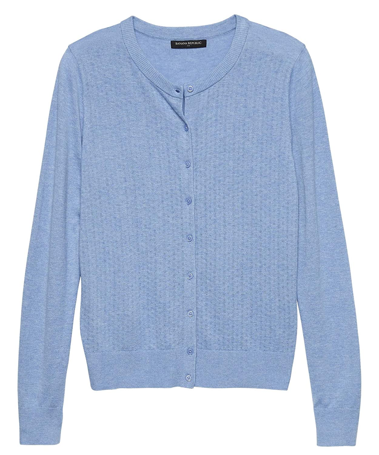 f6b3b7fc345 Banana Republic Womens 333674 Forever Pointelle Knit Front Cardigan Sweater  Heather Blue at Amazon Women s Clothing store