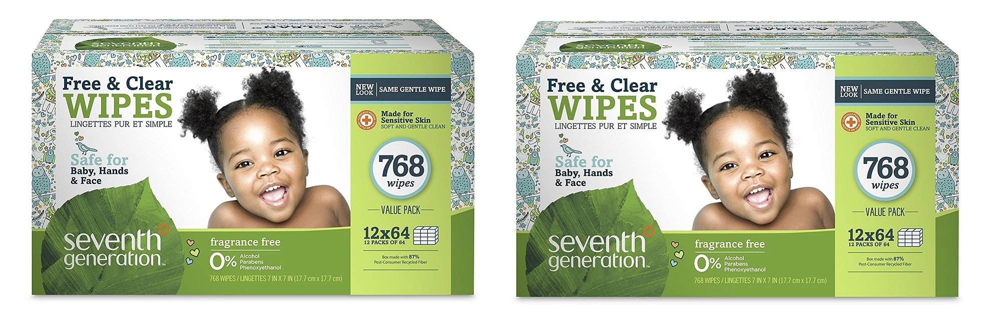 Seventh Generation Thick and Strong Baby Wipes, with Flip Top Dispenser qixrXY, 2 Pack (768 Count)