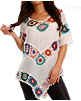 Damen Hippie Shirt Lochmuster Tunika Bedruckt Tunikashirt