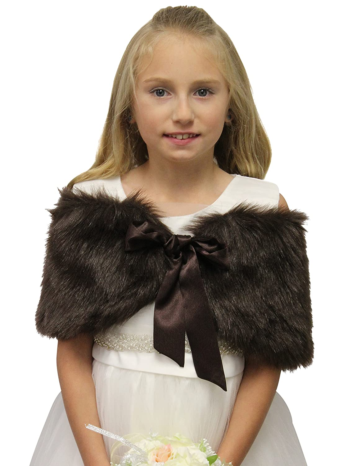 Girls faux fur shawl Brown Size Small