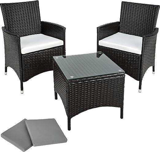 TecTake Conjunto muebles de Jardín en Aluminio y Poly Ratan + 2 ...