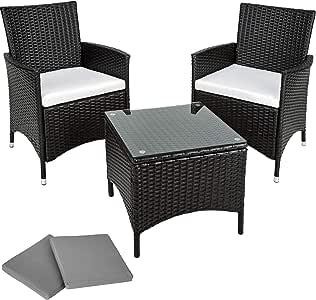 TecTake Conjunto muebles de Jardín en Aluminio y Poly Ratan + 2 Set de fundas intercambiables - disponible en diferentes colores - (Negro): Amazon.es: Hogar