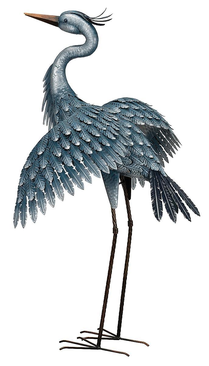 "Regal Art & Gift 11779 Metallic Heron-Wings Out Bird Statuary, 41"", Blue"